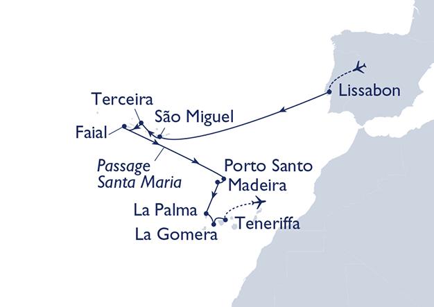 MS Hamburg Route Azoren