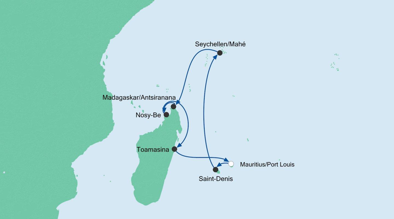 AIDA Kreuzfahrt-Route MAURITIUS, SEYCHELLEN & MADAGASKAR 2